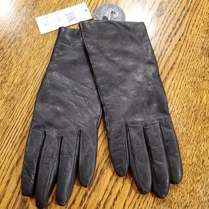 Fownes Gloves Black 8.5 Leather Cashmere Touch